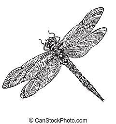 libélula, estilo, zentangle, desenhado, mão