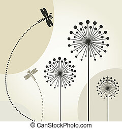 libélula, flor