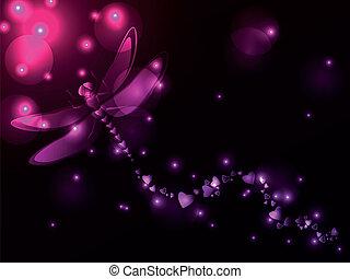 libélula, plasma, corações