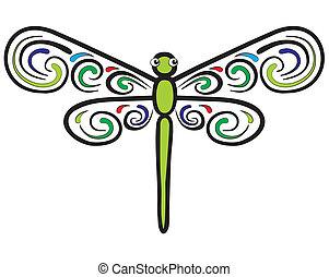 libélula, que, ter, bonito, asa