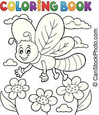 libélula, tema, coloração, 1, livro