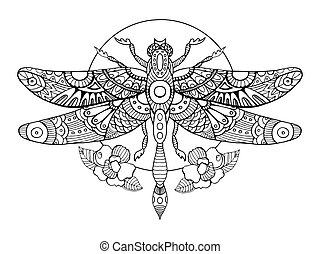 libélula, vector, adultos, libro colorear