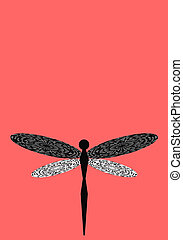 libélula, vertical, espacio, coral, ilustración, plano de ...