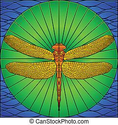 libélula, vidro manchado