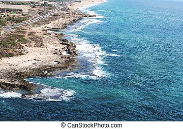 libanés, rosh, israeli-, hanikra, frontera, acantilado