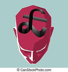 libbra, forma, molto, simbolo, profondo, sopra, trap., testa