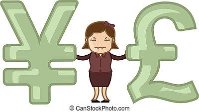 libbra, vs, yen, -, vettore, illustrazione