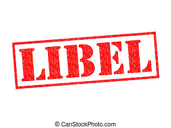 LIBEL red Rubber Stamp over a white background.