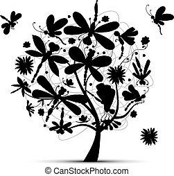 libel, schets, ontwerp, jouw, boompje
