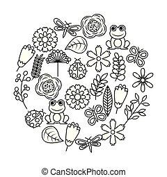 libel, set, liefde, natuur, lente, thema, kikker, vlinder, ladybugs, bloemen, vogels