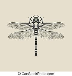 libelle, insekt, schwarz