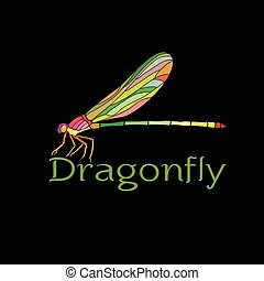 libellula, colorito, fondo., design(amphipterygidae), insetto, vettore, nero, animal.