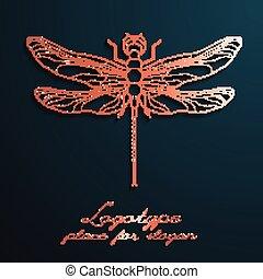 libellula, progettista, logos., eps10., illustrazione, creativo, vettore, disegno, logotipo