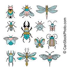 libellula, set, insetti, moderno, icone, farfalla, simboli, scarabeo, errori del software, coccinella, collection., illustrazioni, swallowtail