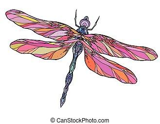 libellula, vettore, colorito, t-shirts, pattern., creatività, abbozzare, illustrazione, elemento, boho, stampa, tatuaggi, cartoline, tuo