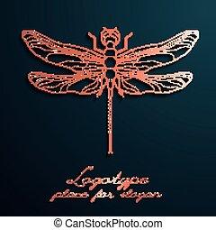 libellule, concepteur, logos., eps10., illustration, créatif, vecteur, conception, logo
