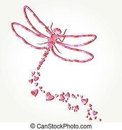 libellule, décalcomanie