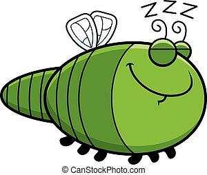 libellule, dessin animé, dormir