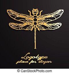 libellule, logo, conception, vecteur, illustration, eps10., concepteur, créatif, logos.