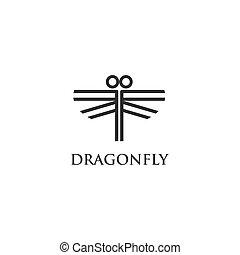 libellule, logo, vecteur
