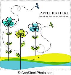 libellule, résumé, fleurs