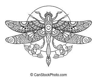 libellule, vecteur, adultes, livre coloration