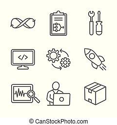 liberación, prueba, monitor, paquete, opere, conjunto, ops, icono, construya, dev, plan, código