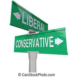 liberal, contra, conservador, dois modo, sinais, 2, partido, sistema