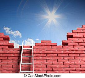 liberdade, concept., melhor, lugar, guiando, escada