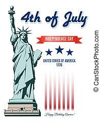liberdade, dia, estátua, independência