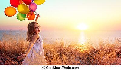 liberdade, feliz, pôr do sol, balões, criança