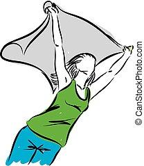 liberdade, mulher, conceito, ilustração