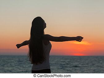 liberdade, mulher, desfrutando, livre
