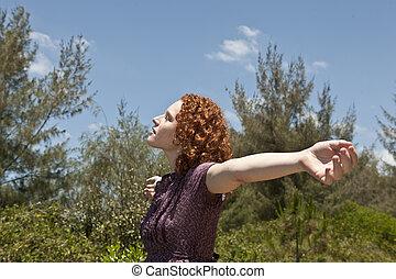 liberdade, mulher, desfrutando, natureza