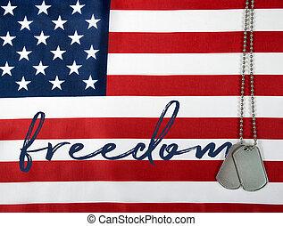 liberdade, palavra, cão, etiquetas
