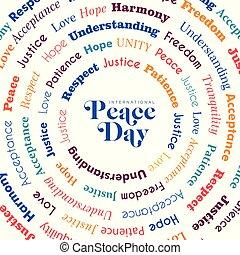 liberdade, paz, saudação, mundo, dia, cartão