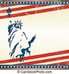 liberdade, quadrado, cartão postal