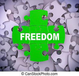 liberdade, quebra-cabeça, 3d, -, pedaços