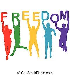 liberdade, silhuetas, conceito, pular, pessoas