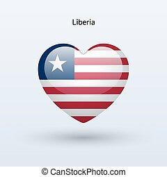 liberia, amare cuore, simbolo., bandiera, icon.