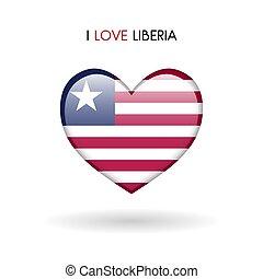 liberia, amare cuore, simbolo., bandiera, lucido, fondo, bianco, icona