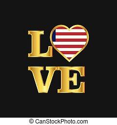 liberia, amore, iscrizione oro, tipografia, bandiera, vettore, disegno