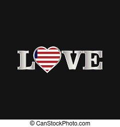 liberia, amore, tipografia, bandiera, vettore, disegno