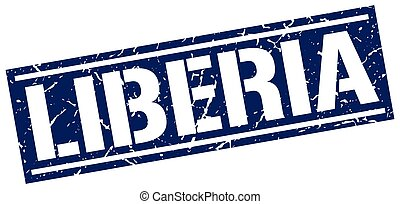 Liberia blue square stamp