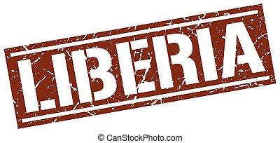 Liberia brown square stamp