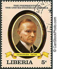 LIBERIA - CIRCA 1982: A stamp printed in Liberia shows President Calvin Coolidge (1923-1929), series the Presidents of the USA, circa 1982