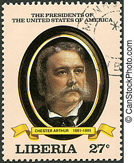 LIBERIA - CIRCA 1982: A stamp printed in Liberia shows President Chester Arthur (1881-1885), series the Presidents of the USA, circa 1982