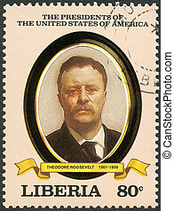 LIBERIA - CIRCA 1982: A stamp printed in Liberia shows President Theodore Roosevelt (1901-1909), series the Presidents of the USA, circa 1982