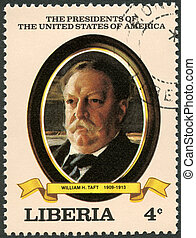 LIBERIA - CIRCA 1982: A stamp printed in Liberia shows President William H. Taft (1909-1913), series the Presidents of the USA, circa 1982