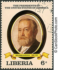 LIBERIA - CIRCA 1982: A stamp printed in Liberia shows President Benjamin Harrison (1889-1893), series the Presidents of the USA, circa 1982